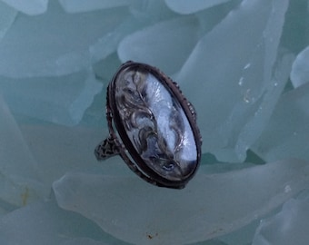 CAVIAR DREAMS Victorian Sterling Silver Reverse Painted Glass Flower Ring - Size 4 - Etsy andersonhs
