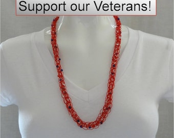Necklace Red White And Blue Necklace Patriotic Knitted Beaded Necklace Patriotic Necklace Beaded Necklace Red Knitted Beaded Necklace