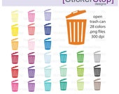 Trash Can Clipart 28 colors, PNG Digital Clipart - Instant download - garbage can, recycle, rubbage, trash bin, compost