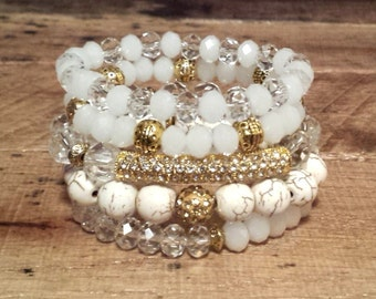 HANDMADE Womens GOLD Metal Pave Rhinestone Bar White, Clear, And Neutral Howlite Bead Stretch Jewelry Bracelet Stack Set Arm Party Gift Boho