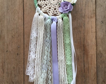 """small 4""""dreamcatcher mint, lilac and cream"""
