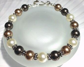 Brown Bead Bracelet, Beaded Jewelry, Swarovski Bracelet, Crystal Pearl, Brown Pearl Bracelet, Swarovski Crystal Bracelet
