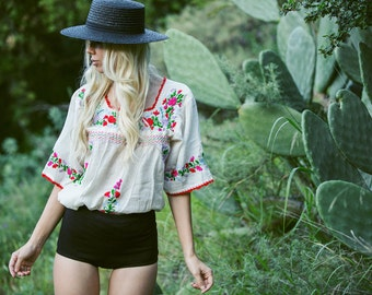 "Mexican Blouse Hand Embroidered Peasant Top: ""La Marina"" Off White + Multi-color"