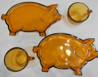 Vintage Amber Glass Pig Snack Set Indiana Glass Tiara Plate Saucer Cup Sandwich Luncheon Dishes