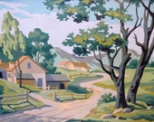 Vintage Country Road with Houses Paint by Number Painting Wood Frame Landscape Art Trees Farm Kitsch