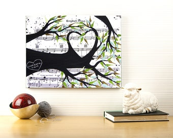 Personalized Unique Wedding Gift - Love Tree Painting Music Sheet On Canvas - Customizable Unique Engagement Gift  by Sasperry Designs
