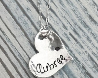 Sterling Silver, Hand Stamped, Mom Necklace, Grandma Jewelry, Gifts for Mom, Personalized Jewelry, Personalized Sterling Silver, Handmade