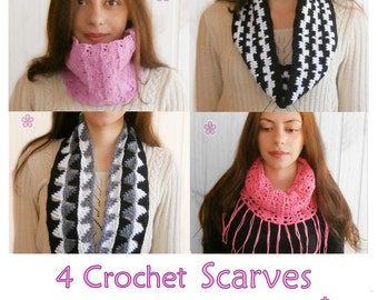 1 pattern FREE. 4 Crochet Circle Scarves Patterns. 2 cowls+ 2 infinity scarves + 1 lacy fringe cowl _ PCS2