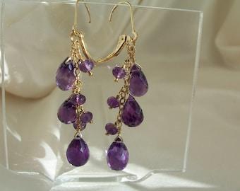 "Amethyst briolette gold filled dangle interchangeable leverback earrings 2 1/8"" total gemstone handmade item 826"
