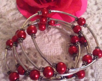 Valentines Day Bracelet Red Silver Memory Wire