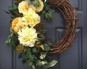 Hydrangea Wreath, Yellow, Spring Yellow Wreaths, Spring Door Decor, Yellow Easter Wreath, Spring Hydrangeas, Yellow and Green, Spring Trends