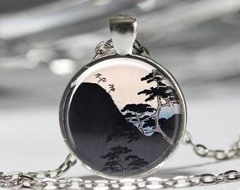 Japanese Art Pendant, Japanese Nature Mountain Necklace, Asian Art Jewelry [A64]