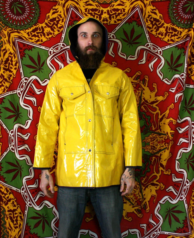 Vintage Bright Yellow Raincoat. Weather Resistant Raincoat For