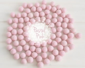 Wool Felt Balls - Size, Approx. 2CM - (18 - 20mm) - 25 Felt Balls Pack - Color Pastel Pink-4010- 2CM Felt Balls - Felt Pom Poms - Pink Beads