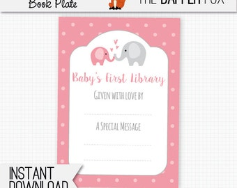 Book Plate Pink Elephant Bring A Book Baby Shower - printable bookplate book label - Baby's First Library Baby Girl Pink and Grey
