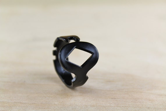 Men's Ring made from an antique KEY! (size 12.5) - Black Diamond - Handcrafted - Powder Coated - Repurposed - Upcycled