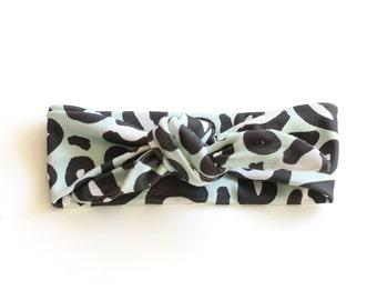 SALE || Baby Headband || Organic Cotton Headband || Animal Print Mint || Curved Ends