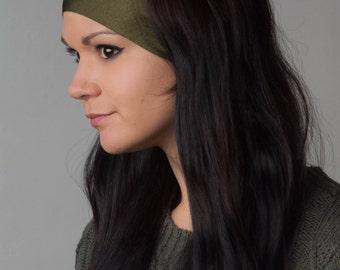 Running Headband - Yoga Headband - World's Best Non Slip Headband by Manda Bees - Favorite Moisture Wicking Workout Yoga Headband - OLIVE