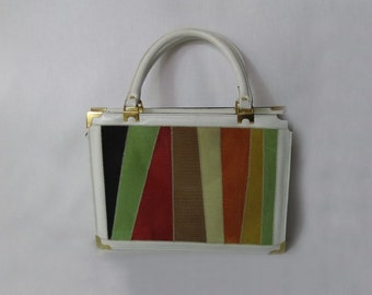 White Leather Handbag With Coloured Lizard Patchwork