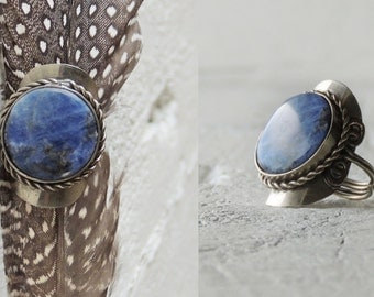 SOLD/Sodalite Statement Ring/Blue Natural Stone Ring/Silver Ring/Bohemian Ring/Boho/Western Ring/Gypsy Ring/Indie Ring/Ethnic Ring/Tribal