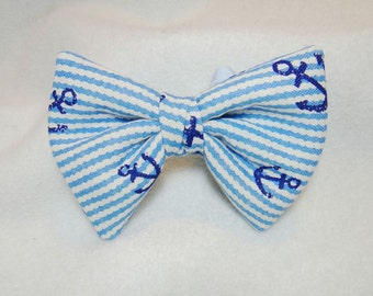 Pet bow tie Blue anchor dog bow Slide on collar dog bowtie Summer nautical anchor slip on collar attachment Pet collar accessory ( L)