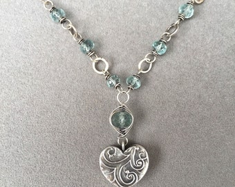 SALE! Sterling Silver and Moss Aquamarine Heart necklace.