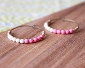 bubblegum pink, cream, gold, czech glass hoop earrings - medium hoop
