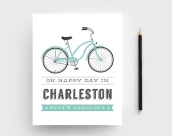 Charleston, SC Bicycle Typographic Print; 8x10 Charleston, SC Art Print