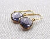 Purple Crystal Earrings Gold Dangle Earrings Tanzanite Glass Minimalist Modern Bridal