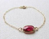 Red Minimalist Bracelet Thin Gold Chain Bridal Jewelry Bridesmaid Wedding Dainty Modern Jewelry Red Crystal