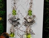 Woodland Bird Earrings, Bird Earrings, Bird Branch Earrings, Woodland Birds, Czech Bead Earrings