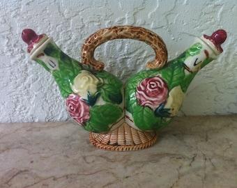 Vintage Art Pottery, Majolica Cruet, Oil and Vinegar, Cruet Basket, Flowers and Leaves, Charming Colorful,