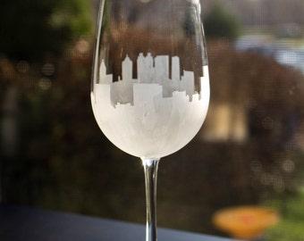 Etched Atlanta Georgia Skyline Silhouette Wine Glasses or Stemless Wine Glasses
