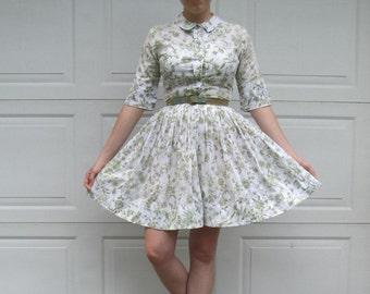 1950s Cos Cob shirt dress with RARE original belt and green nature print, vintage full skirt