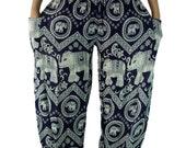Elephant pants /Boho Harem Pants/ Hippies pants /Yoga pants one size fits Navy
