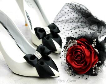 Black Bling Shoe Clips, Black Satin Bow Shoe Clip, Black Wedding Accessories Shoes Clip, Black Bridal Bling