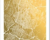 Gold Foil Austin Map Print, Gold Foil Map™ of Austin, Texas, Gold Foil Print, Gold Foil City Map, Street Map, Trendy Art, Austin, Texas