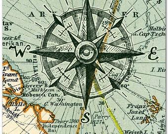 Nautical Map Compass Print, Compass on Map, Poster, Nautical Wall Art, Maritime Print, Compass Poster, Beach Art, Maritime Art