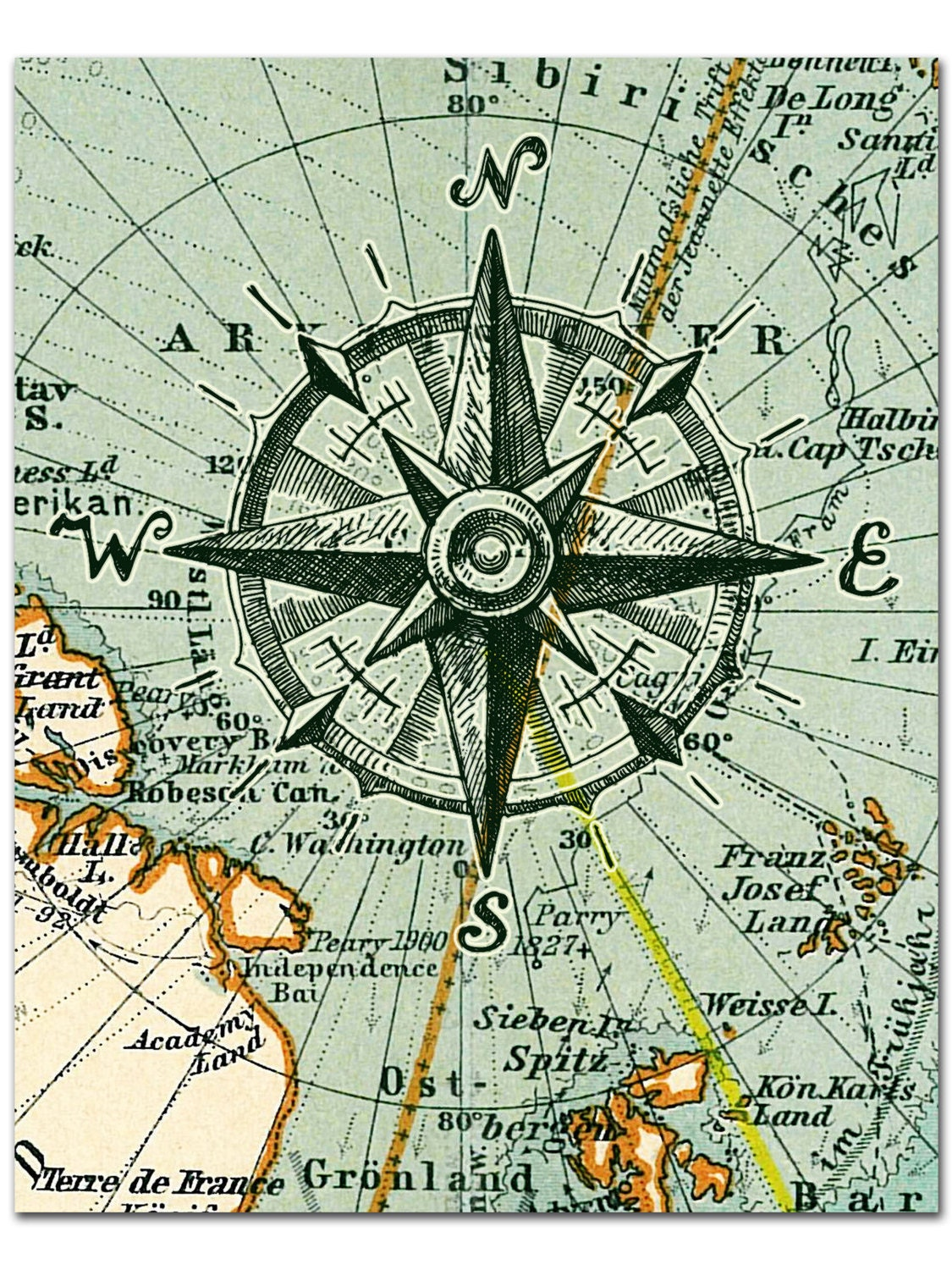 nautical map compass print compass on map poster nautical. Black Bedroom Furniture Sets. Home Design Ideas