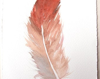 Feather painting original/ Watercolor original 7,5x11/ Small feather illustration/ Cadmium red- beige feather drawing/ Minimalist art