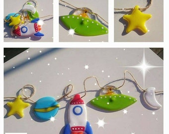 Fused Glass Space themed Bunting