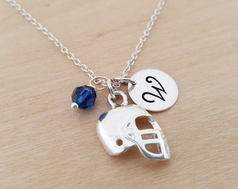Football Necklace - Swarovski Birthstone - Initial Necklace - Personalized Necklace - Sterling Silver Necklace - Gift for Her
