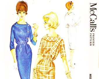 McCall's 6041 Vintage 1960s Sewing Pattern Dress Sheath Dress with Extended Draped Collar Sz 18