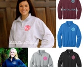 SALE-Monogrammed Quarter Zip Pullover available in -Monogrammed Pullover Sweatshirt, Bridesmaid Gift, Monogrammed Gifts, Personalized
