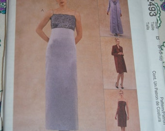 McCalls 2493 Evening Elegance  Misses Lined Dress in Two Lengths and Lined Duster in Two Lengts Sewing Pattern - UNCUT Many Sizes Available
