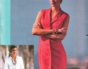 Vintage 80's Very Easy Pattern Front Button Tapered Dress Plus Size 18 20 22 Notched Shawl Collar Butterick 4007 Sewing Pattern Uncut FFolds