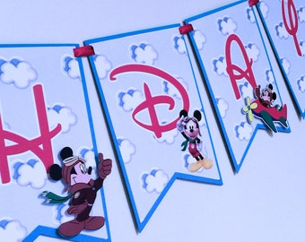 Pilot Mickey Happy Birthday Banner / Aviator Mickey / Mickey Mouse Airplane Party Banner   Personalized Banner