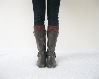 Wool Boot Socks   Knit Boot Cuffs Merino Wool Ankle Warmers   Crochet Boot Socks