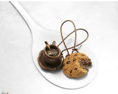 SALE - Scented Chocolate Chip Cookie Earrings, Miniature Food Cookie Jewelry, Hot Cocoa Earrings, Polymer Clay Food Copper Earrings, Kawaii