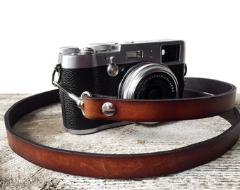 Leather Camera Strap, Skinny Antiqued Brown Genuine Leather Camera Strap, Skinny Style, DSLR, SLR, Camera Strap, Photographer Gift